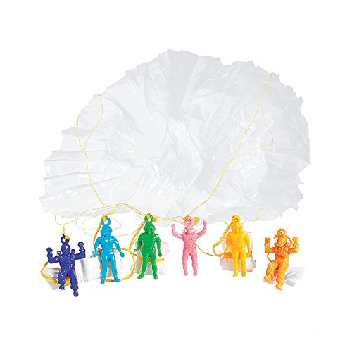 Mini Vinyl Paratroopers - Pack Of 24 - 1.75 Inches Assorted Colors Cool Airborne Action Figures - For Kids Great Party Favors, Bag Stuffers, Fun, Toy, Gift, Prize - By Kidsco by Kidsco
