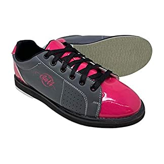 SaVi Bowling Products Women's Classic Grey/Pink Bowling Shoes_Ladies Lace Up w/Universal Soles for Right or Left Handed Bowlers from Beginners to Professionals (11)