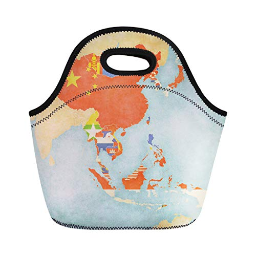 Semtomn Neoprene Lunch Tote Bag Flags of All Countries Map East and Southeast Asia Reusable Cooler Bags Insulated Thermal Picnic Handbag for Travel,School,Outdoors, Work