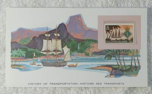 H.M.S. Herald - Postage Stamp (Solomon Islands, 1980) & Art Panel - The History of Transportation - Franklin Mint (Limited Edition, 1986) - Sailing Ship, Survey Ship, Ocean Exploration