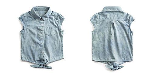 Firengato Girl's Cotton Casual Denim Button-up Shirt,2-8 Years (2 Years) by Firengato (Image #2)