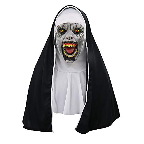 Fenleo Creepy Scary Halloween Cosplay Costume Mask for Adults Party Decoration Props(Horror Devil Nun) (C)