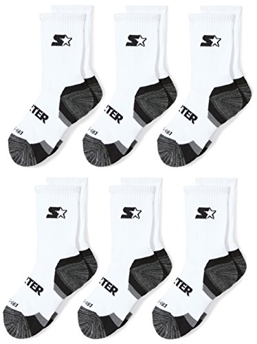 Starter Boys' 6-Pack Athletic Crew Socks, Prime Exclusive, White, Medium (Shoe Size 4-9.5)