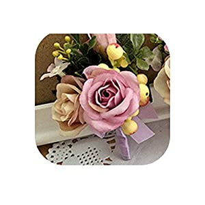 loveinfinite Handmade Rose Berry Wedding Prom Corsage Groom Boutonniere Lapel Pin Bracelet Party Bride Decor Exquisite Wrist Corsages Flowers,9 17
