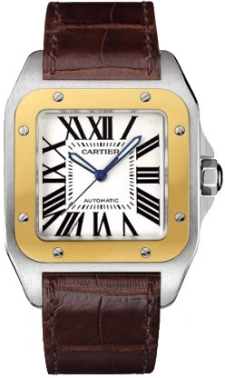 cartier-mens-w20072x7-santos-100-xl-automatic-yellow-gold-stainless-steel-and-leather-watch