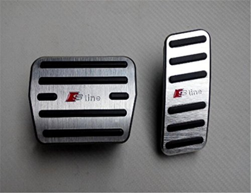Ushopkins AT No Drilling Automatic Car Gas Brake Pedal Cover Accelerator Brake Foot Rest Pedals Covers For CIVIC 10 Silver Red