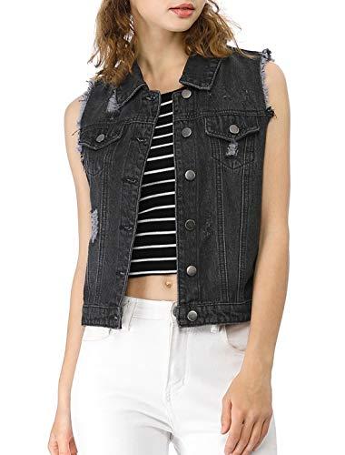 (Allegra K Women's Turn Down Collar Button Closure Denim Washed Vest Black S (US 6))