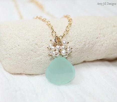 Collar de calcedonia Aqua, perla de agua dulce, colgante de clúster, joyería de calcedonia Aqua, chapado en oro, joyería de piedras preciosas de color verde marino de 40,6 cm.