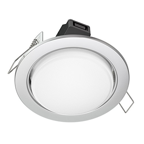 ledscom.de LED spot encastré Zobe plat GX53 chrome mate ronde 6.3W=40W 450lm blanche-chaude 107mm Ø Lochkreis 90mm Ø