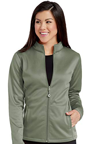 - Med Couture Zip Front Performance Fleece Scrub Jacket for Women, Olive, Large