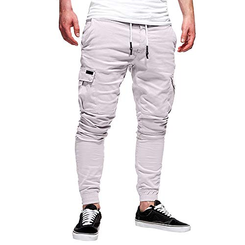St.Dona_Men Mens Pants,Men's Sweatpants Drawstring Trousers Long Pants Casual Baggy Jogger White