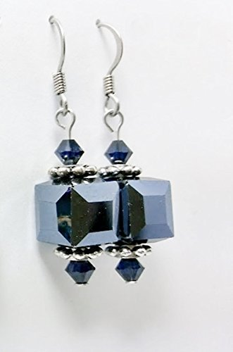 Indigo Nights - Dark Denim Blue Glass Cube and Crystal Drop Earrings ()