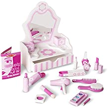 Melissa & Doug Wooden Beauty Salon Play Set with Vanity and Accessories (18 pcs) Role Play Toy
