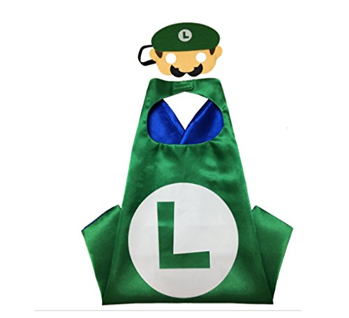 Rush Dance Kids Children's Deluxe Comics Super Hero CAPE & Matching MASK Costume (Luigi (green (Batman Costume Sydney)