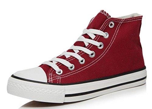 Womens Casual Hoge Top Platte Canvas Schoenen Fashion Sneakers Donkerrood