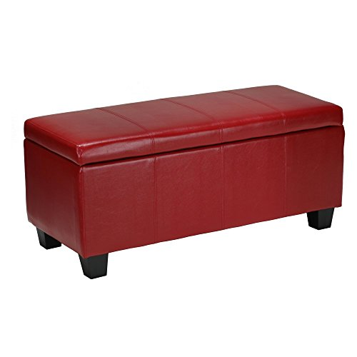 Cortesi Home Alba Storage Ottoman in Red Leather like Vinyl