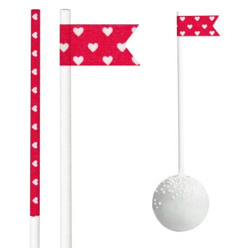 Dress My Cupcake DMC30259 25-Pack Party Cakepop Sticks DIY Kit, 6-Inch, Valentines Mini Hearts on Red