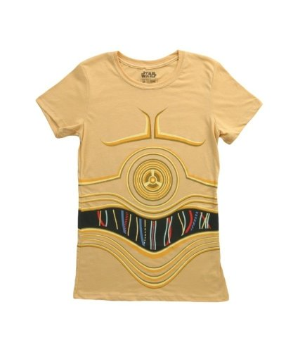 Mighty Fine Star Wars I Am CP3O Costume Tee Juniors Yellow L ()
