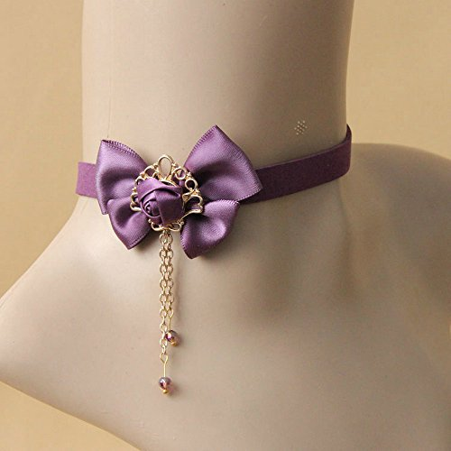 (Pure Gothic Ribbon Bridal Lace Pattern Necklace Vintage Romantic Handmade Bridal Wedding White Lace Choker Necklace Short Flower Pearl Relighous Necklace (with A Purple Bow))