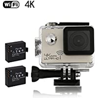 4K Sports Action Camera WiFi 16MP 2.0 inch Waterproof 30M Underwater Video Camera Include 2 pcs Batteries with 19 Mounting Kits Golden