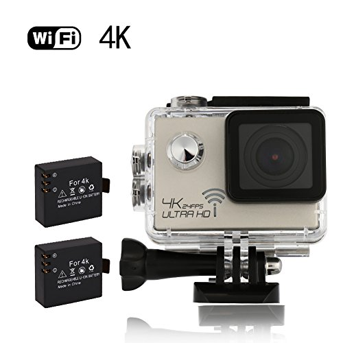 Acekool 4K Sports Action Camera WiFi 16MP 2.0 inch Waterproof 30M Underwater Video Camera Include 2 pcs Batteries with 19 Mounting Kits Golden Acekool