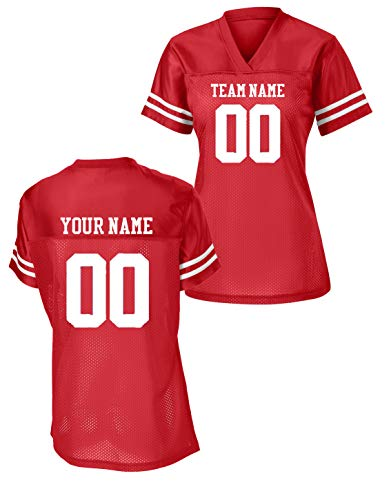 Sport-Tek Womens Custom Stadium Replica Football Jersey (Red, Large)