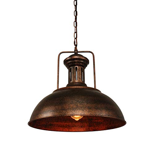Pendant Lighting Industrial Nautical Barn Pendant Light Single with Rustic Dome Bowl Shape Mounted Fixture Ceiling Lamp Chandelier by ZPKelin -