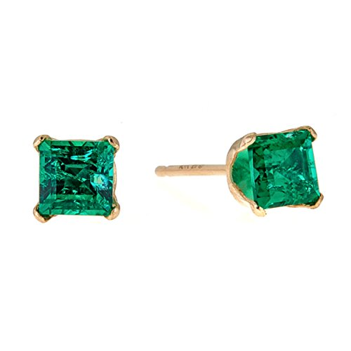 Lavari - .30 cttw Square 4MM Green Emerald 10K Yellow Gold Stud Earrings