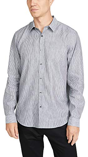 Theory Men's Irving Long Sleeve Summer Linen Striped Shirt, Eclipse Stripe, Small