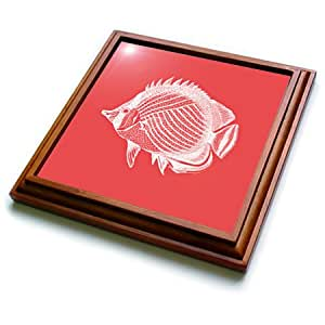 trv_164953_1 InspirationzStore Vintage Art - Red Butterflyfish Tropical Fish print. Exotic modern sea ocean marine - Trivets - 8x8 Trivet with 6x6 ceramic tile