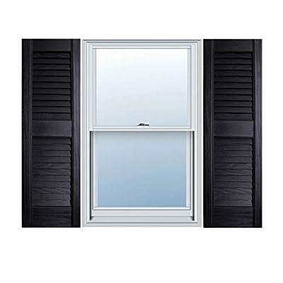 "12"" x 71"" Builders Choice Vinyl Open Louver Window Shutters, w/Shutter Spikes & Screws (Per Pair), Black"