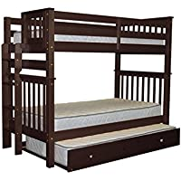 Bedz King Tall Bunk Beds Twin over Twin Mission Style with End Ladder and a Twin Trundle, Cappuccino