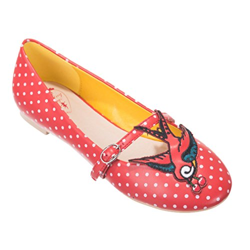 Dancing Days by Banned - Damen Rockabilly Ballerinas Schwalbe - Mercy Swallow Rot Rot