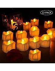 laxikoo Velas LED, 12Pcs Velas de Té LED, Vela Luz Parpadeo con Pilas Sin Llama Bodas, Cumpleaños, Fiestas, Navidad, Festivales, Restaurante, Decoración (Amarillo)