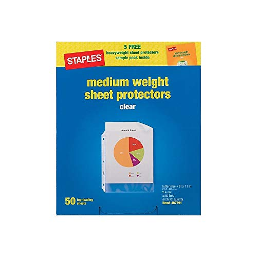 Staples Nonstick Top-Loading Sheet Protectors, Medium-Weight, Clear, 2.4 mil, 8 1/2