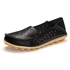 BTDREAM Women's Leather Slip-on Loafers Moccasins Casual Flat Driving Boat Shoes with Memory Foam Insole