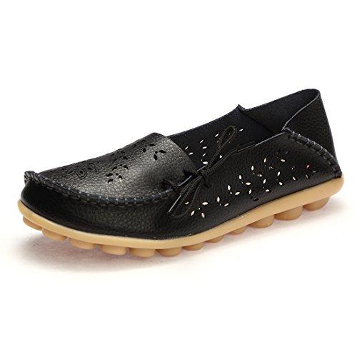 BTDREAM Damen Leder Slip-On Loafers Mokassins beiläufige flache treibende Bootsschuhe mit Memory-Foam-Einlegesohle 001-schwarz