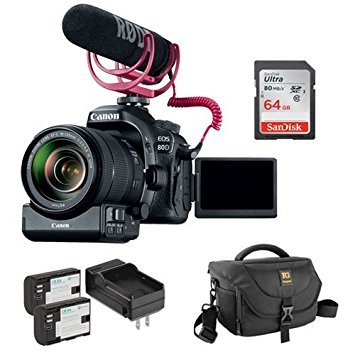 Canon EOS 80D DSLR Camera with 18-135mm Lens Video Creator Kit plus Lithium-Ion Battery Pack with Charger, DSLR Shoulder Bag and 64GB Ultra UHS-I SDXC Memory Card