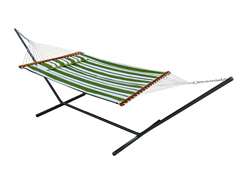 Smart Garden 51325-RGRN Santorini Reversible Double Hammock, Green, Reversible Design Allows Plain or Stripe Design to be Displayed, Does Not Include Stand