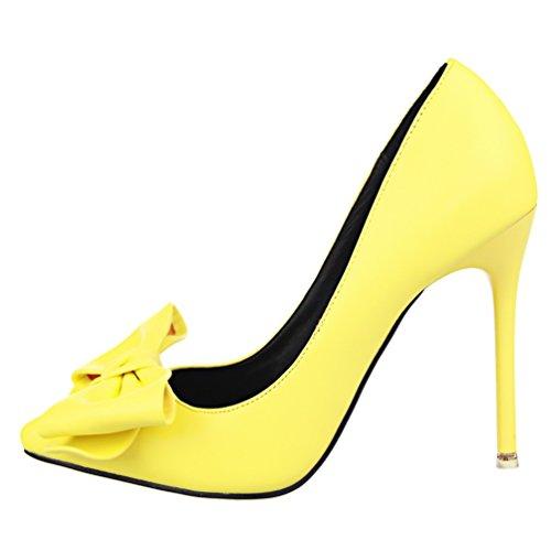 HooH Damen Einfach Bowknot Pointed Toe Abendschuhe Pumps Gelb