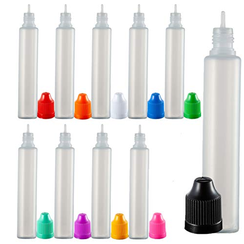 ABOSS 20 Pieces 30mL Multi Color Caps LDPE Plastic Squeezable Dropper Bottle with Squeeze Top