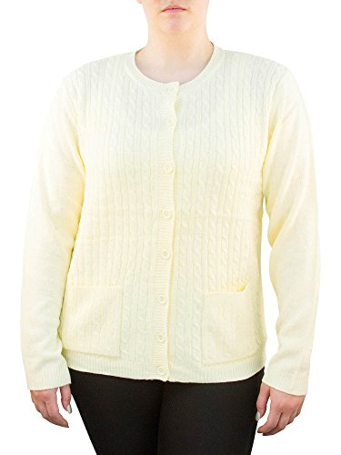 Knit Minded Womens Plus Size Long Sleeve Two Pocket Cable Knit Cardigan Sweater Light Yellow 1X