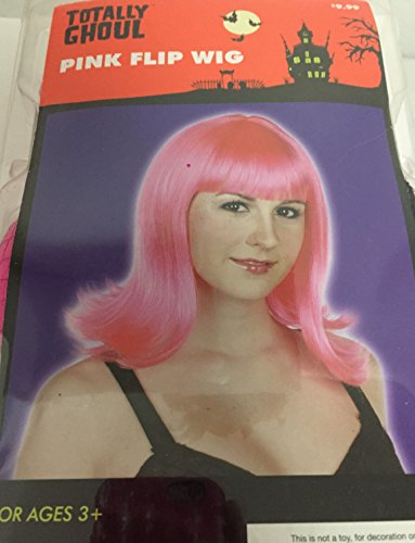 Kmart Halloween Costumes For Adults (Hot Pink Flip 60'ss Wig Adult One Size Fits Most 3+ NIP)