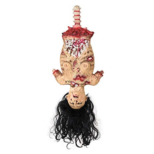 Chi Mercantile Ultimate Creepy Halloween Prop Décor Lawn Haunted House Display Half Body Hanging Cut Torso Female with Black Hair Zombie Scarer Macabre