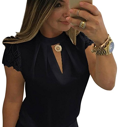 - Big Promotion! FarJing Women Blouse Casual Chiffon Short Sleeve Splice Lace Crop Top (S,Black)