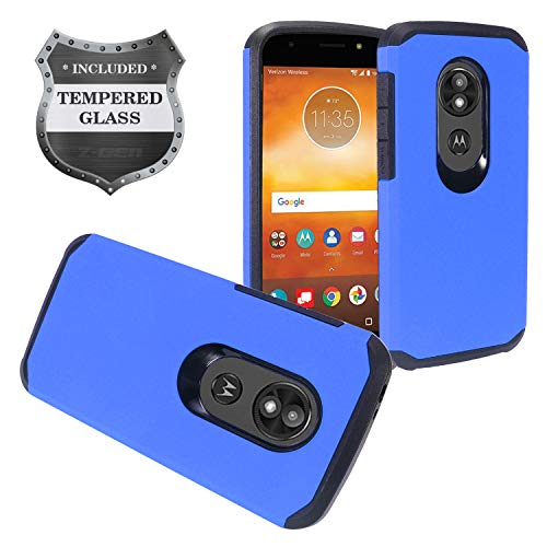 Motorola Moto E5 Cruise, Moto E5 Play XT1921 - Rubberized Hybrid Hard Case + Tempered Glass Screen Protector - AH2 Blue