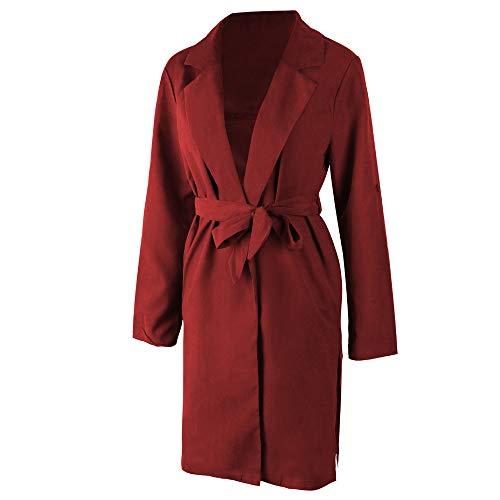 Franterd Women Coat Autumn Turn-Down Collar Cardigan Open Front Windbreaker with Belt Overcoat Outwear Pockets Jacket by Franterd (Image #4)