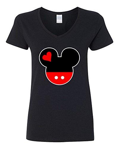 Price comparison product image V-Neck T-Shirts Women Mickey Mouse Head Disney Most Popular Shirts (Black ,Medium )