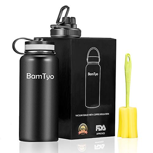 (BamTyo 32 Oz Water Bottle Double Walled Vacuum Insulated 18/8 Stainless Steel Powder Coated Thermos,Leak Proof Sports Water Cups,Travel Mug Wide Mouth with 2 BPA Free Lids for Hot&Cold Liquids,Black)
