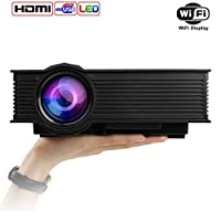 Mileagea LED Projector Mini Portable Multimedia 1080P Full HD Wifi Wireless Home Theater